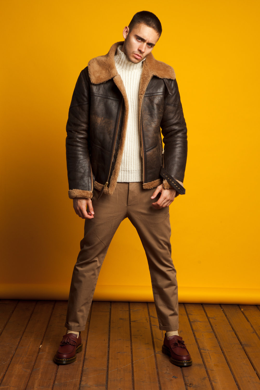 Schott  shearling jacket,  De Bonne Facture  sweater and  Marni  trousers