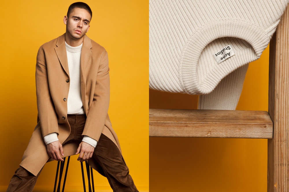 Acne Studios  coat and sweater,  Prada  corduroy trousers