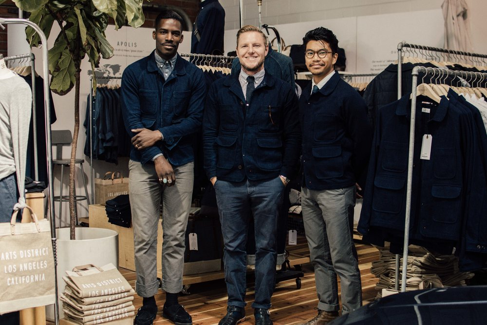 Raan Parton (in the middle) with his associates in Apolis' DTLA store.