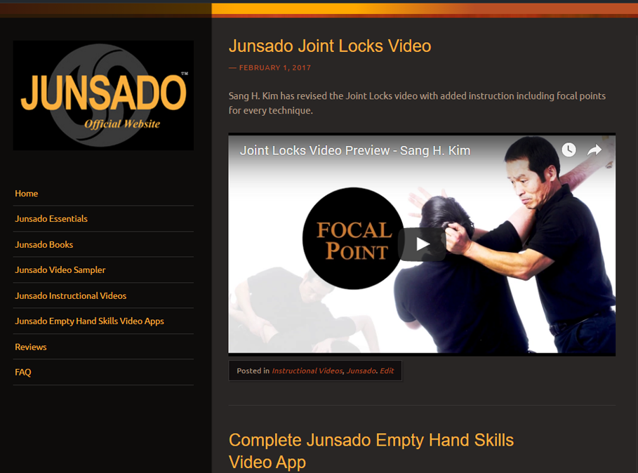 Junsado  , founded by Sang H. Kim, is the way of combat expert. Junsado techniques are grounded in the principles of change: changes in you, changes in your opponent and changes in the environment are all considered in Junsado strategy. It is a living art that evolves and adapts to the individual fighter and environment.