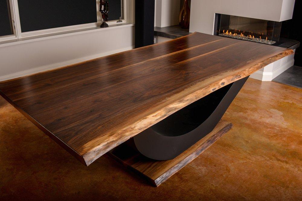 Greg Aultman Furniture Custom Live Edge Table with Metal Curved Legs Brockville Ontario.jpg