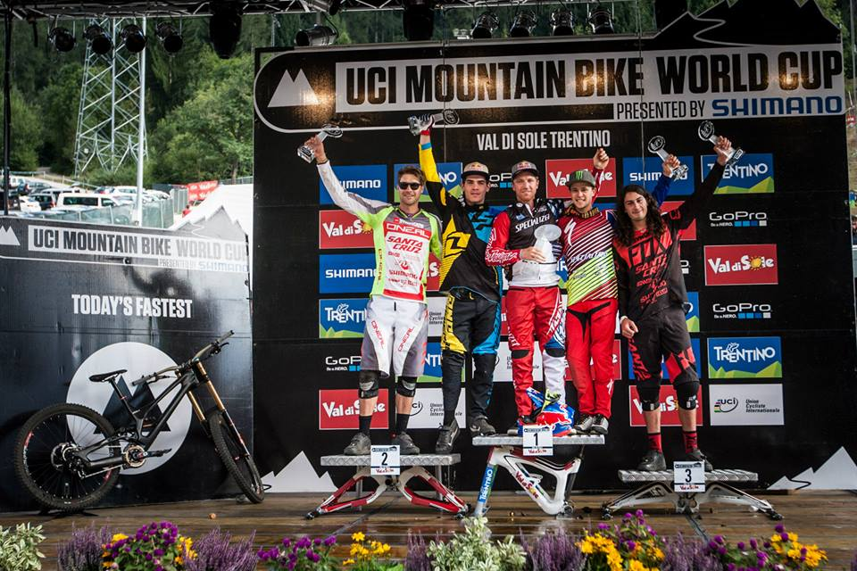 After a hand operation earlier this year left him unsure of his World Cup season, South Africa's Greg Minnaar (far left) was happy to claim the overall fourth position in the 2015 UCI MTB World Cup DHI Series presented by Shimano. Photo: www.uci.ch