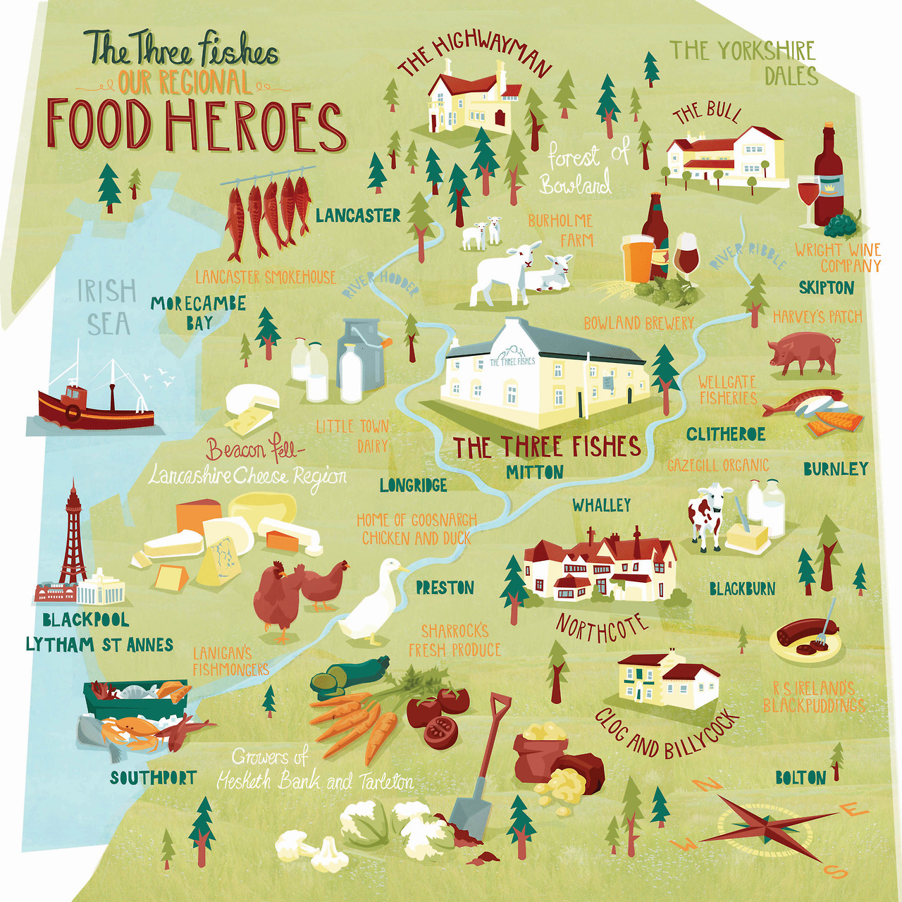 I was asked to do a series of supplier maps for the Three Fishes Pub in Lancashire. I did one Large map of the local produce that the restaurant uses as well as a Cheese map and a walking trail. You can find out more about my Three Fishes project HERE