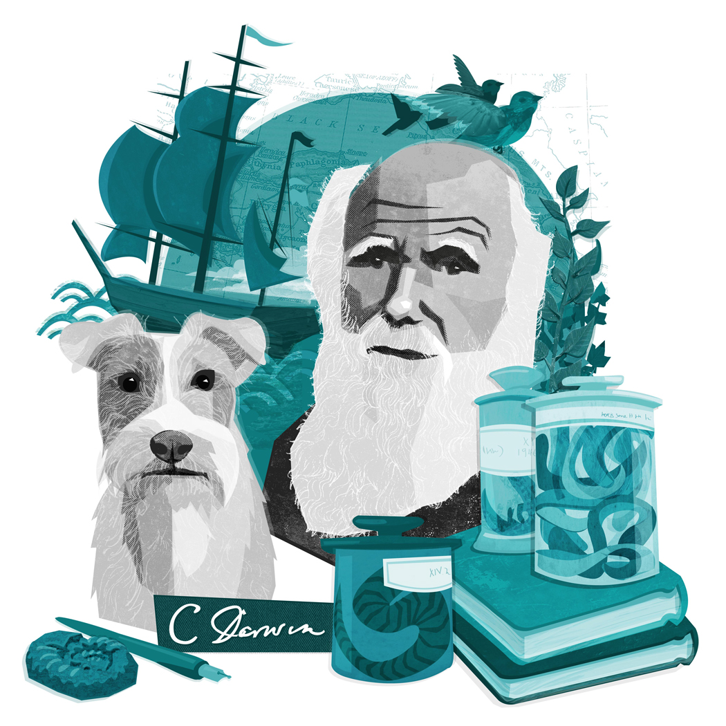 Last month I was contacted by the the lovely people at The Bark Magazine who had seen my Darwin illustration and thought it would work well to accompany an article in their upcoming issue. The Article was written from the perspective of Charles Darwin's dog - a fox terrier called Polly! I amended my original Darwin illustration to incorporate his Canine friend, which I think was probably the first time I've illustrated a dog!