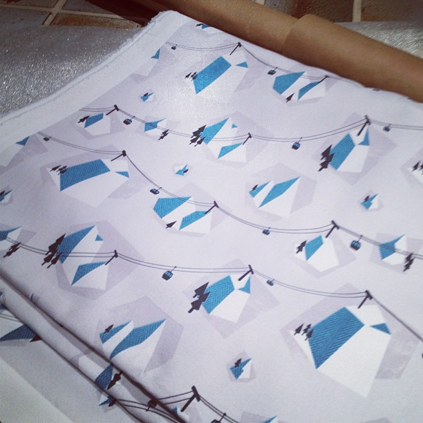 Getting my chairlift fabric wrapped up and ready to send to France to cover a chaise longue!