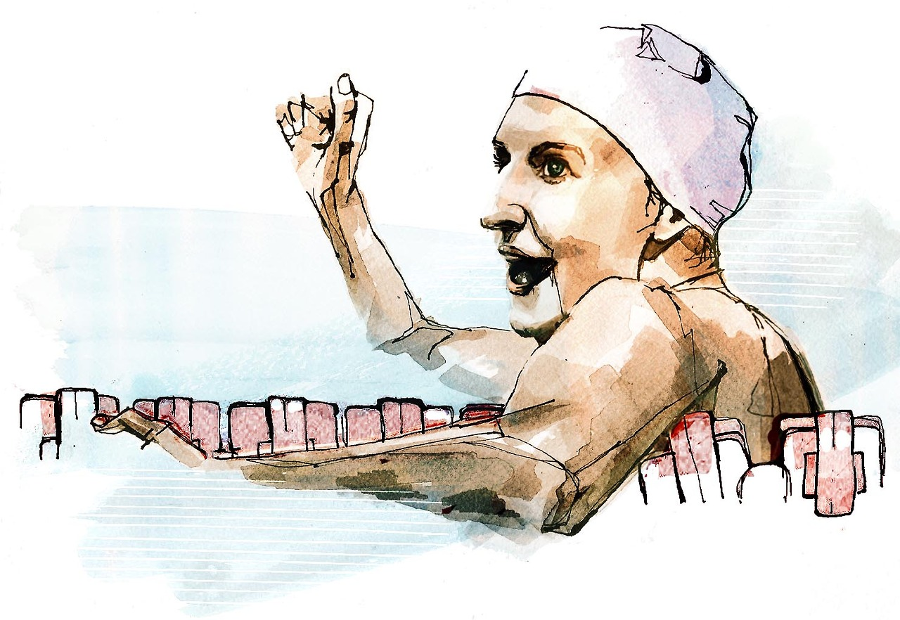 Portrait a week - Rebecca Adlington I've tried to be a bit more adventurous this week in developing my new portrait style and have been using colour. I'm pretty please with the result and will probably try and experiment with my colour palette a bit more next week. I've drawn Rebecca Adlington as she's announced her retirement from swimming - she is the most successful british swimmer of modern times. I also chose her because I was getting bored of drawing male politicians in suits, but in hindsight maybe water was a bit ambitious…