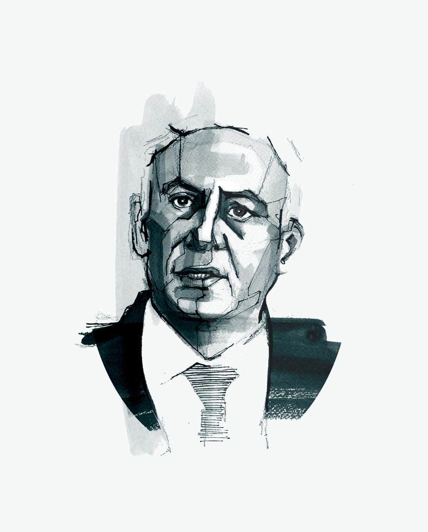 Portrait a week  - Benjamin Netanyahu   Here's this week's portrait from my new side project to develop my painting style.   Benjamin Netanyahu has been in the news a lot recently due to him being re-elected as the Israeli prime minister last week - then again this week after a cartoon of him caused controversy when it was printed in the Sunday Times.   I'm enjoying this painting malarky, this illustration was done using pencil and ink with a bit photoshop tweaking afterwards. I need to be a bit more adventurous next week though I reckon.