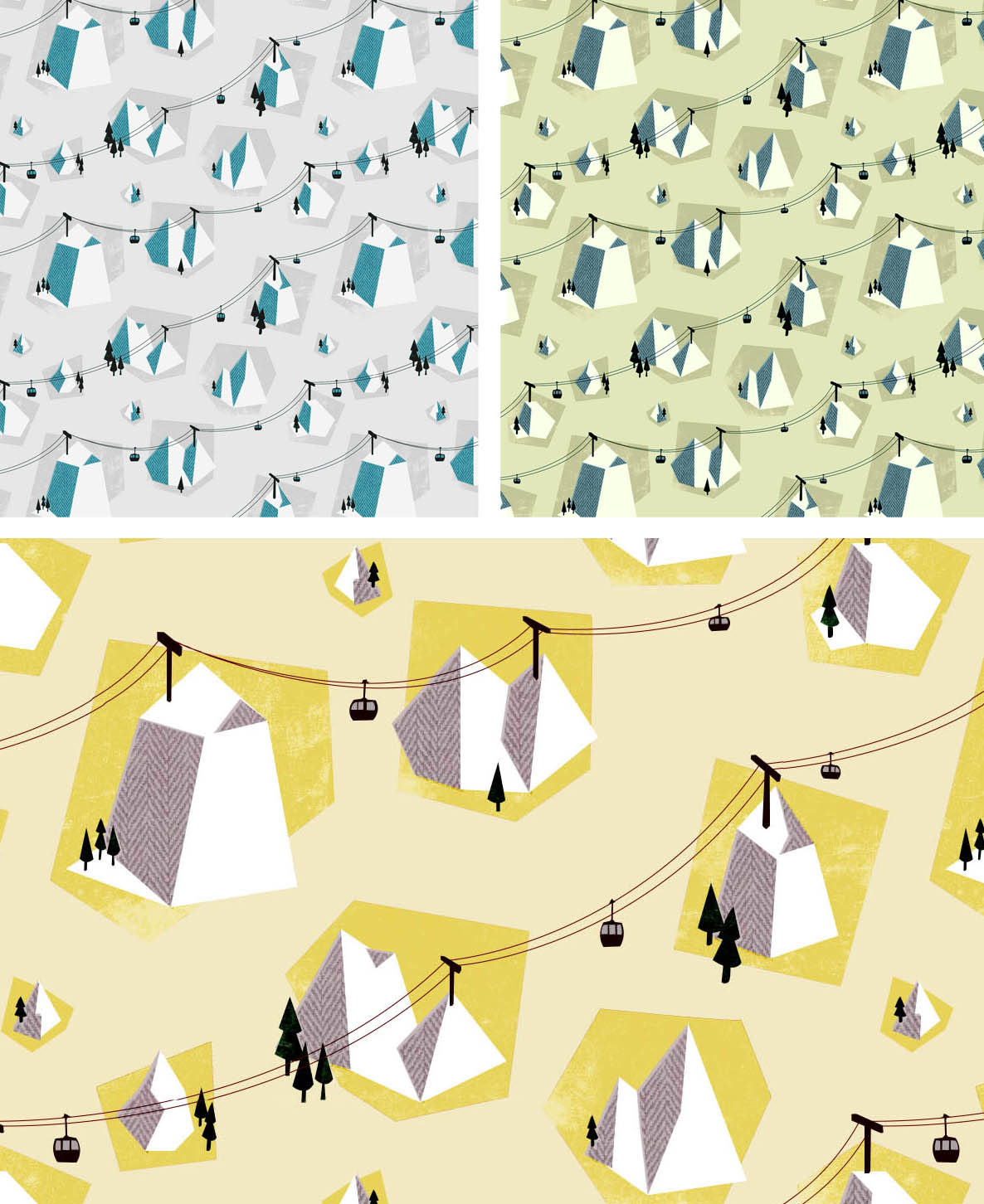 I've been working on some patterns recently and will be sending off my designs to be printed onto fabric at the end of this week. This chairlift pattern comes in Grey, Mustard and Green. If you're interested in getting your hands on some send me an email at kerryhyndman@hotmail.com and I'll add your fabric to my order. I'll place the order on Friday 25th Jan so let me know before then if you would like some. The fabric is £40 per Yard and can be used for upholstry, cushions and tea towels. p.s the yellow patten is not bigger I just zoomed in to show the detail!