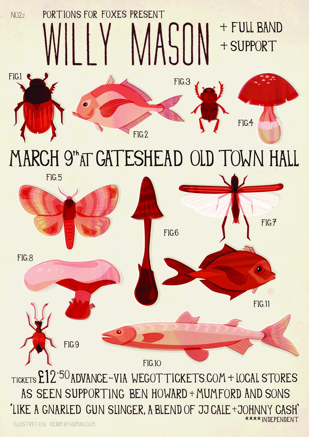 Here's my new gig poster for Willy Mason gig at Gateshead old town hall you can buy tickets  HERE