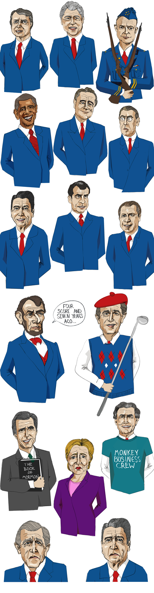 I was commissioned by  DamnFine Media  to draw the illustrations for three films to be shown on the  Guardian website . For the films, entitled 'How to be the president of the USA', 'The History of the Rebublican Party' and 'The History of the Democrat Party', I needed to illustrate a number of Presidents along with a variety of expressions, additional characters and create costumes for all the chips who were to play the part of the american public!   The Films were American Diner / fast food themed and while filming I had to draw backgrounds and words in ketchup and mustard around the main characters.    It was strange week of filming, but now my ketchup drawing skills are pretty polished and I'm sure will come in useful again at some point!? It was also a refreshing change from my normal digital illustration style and it was nice to work on some portraits again.    You can see all three films  HERE  on the Guardian website, ' How to be president of the USA ', ' History of the Democrat Party ' and ' History of the Republican Party '