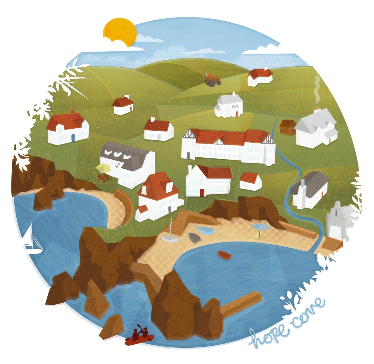 Hope Cove - I was recently commissioned to produce an illustration of a small seaside village in Devon. Using google maps, the internet and a few of my own photographs I have included the key local landmarks, including the client's own house.