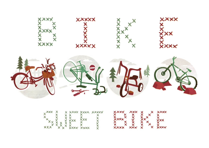 I was asked by the guys over at  Boneshaker Mag  to design a print for their shop. Using my home sweet home illustration as inspiration I've adapted it to feature 4 different bikes - hopefully there's one bike there for everyone! You can buy my print along with lots of other great products over at the  Boneshaker shop