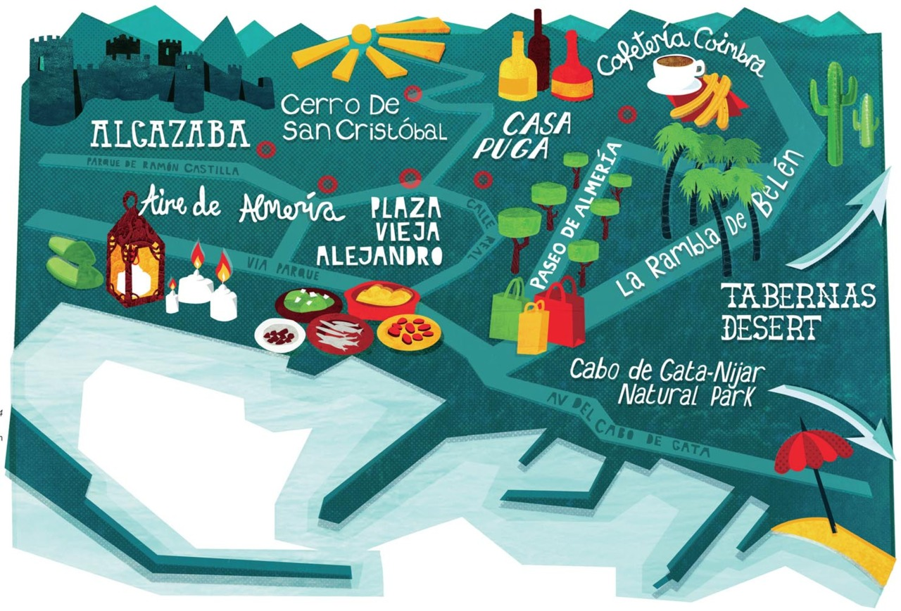 Here is a map I did of the Spanish town Almeria for Bmi Baby inflight magazine -  YeahBaby .   I'm working on a couple more maps at the moment too, so once they are finished I'm looking forward to creating a separate portfolio on my website with all my map illustrations in.