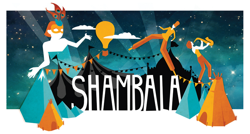 Last Summer John Coe coecreative.com and I worked on a design tender for Shambala Festival. I created the illustrations while John created visuals for websites, brochures and promotional products, onto which my illustrations were then placed. I really enjoyed this project and although we did not win the tender it was a really great experience working with John and seeing my illustration brought to life in different contexts.
