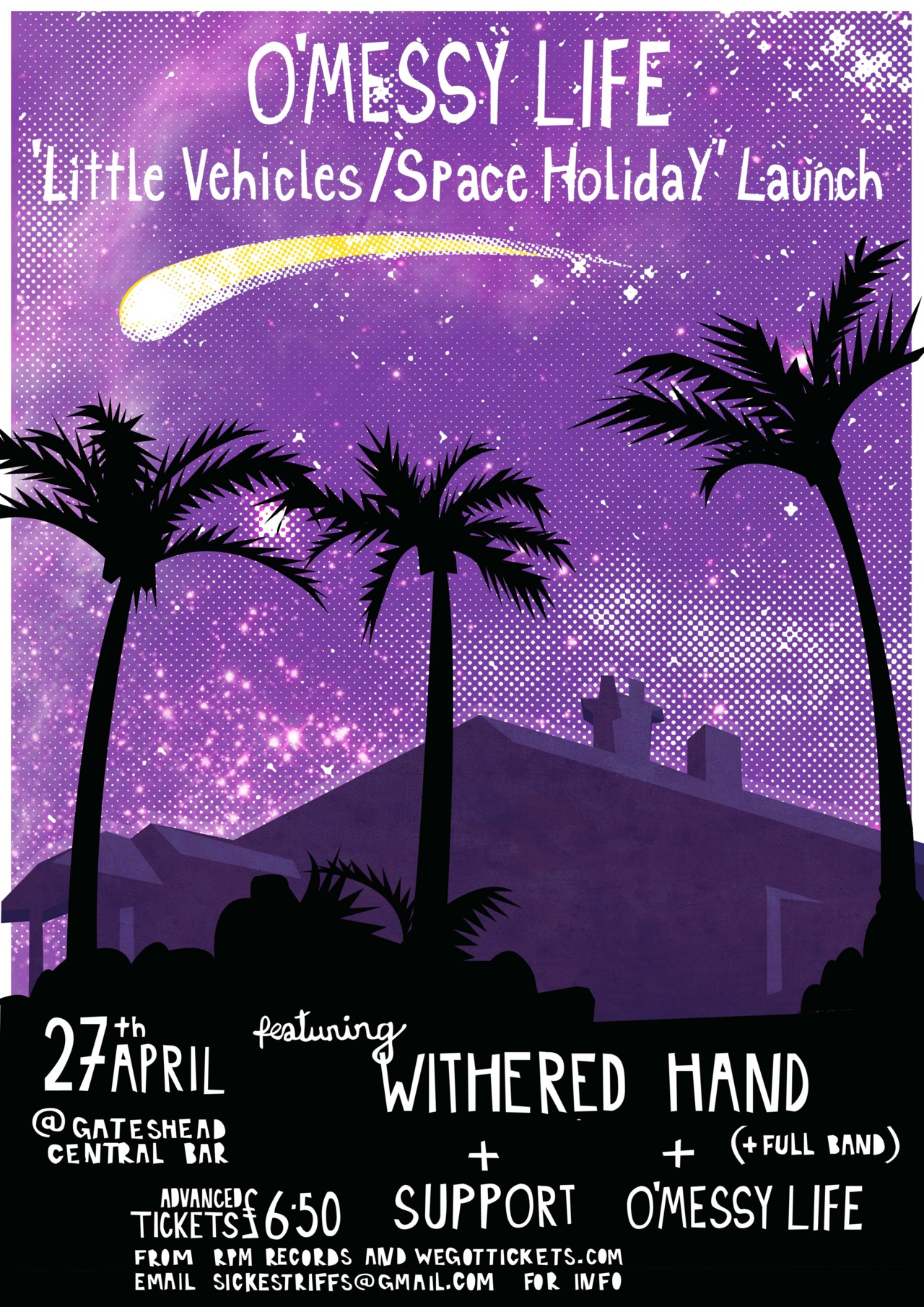 The rather awesome  O'Messy Life  are having a gig to celebrate the launch of their New Single. You can find out more about the single  HERE .   I was asked by the band to produce a poster for their double A side single, featuring the songs Little Vehicles and Space Holiday, which will be out on 23rd April 2012. As they're inspired by  Heaven's Gate suicide cult  I based my colour scheme around the fact that the victims were covered in a purple cloth and dressed in black. I've also included the silhouette of the mansion where the 39 members of the group had committed suicide, and the Hale-Bopp comet which was the trigger for the mass suicide.