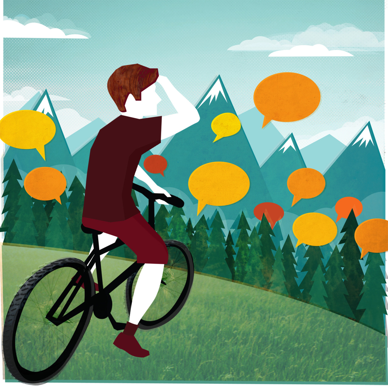 I was commissioned by the Canadian business magazine Profit to illustrate two articles for the March edition. The illustration above was to accompany an article about how companies are able to crowd source their own market research via social media platforms. A mountain bike company featured in the article is seen here looking out over conservations that they are able to access and utilise via social media. The illustration below is for a piece about rewarding sales staff with bonuses which are dependent on their achievements.