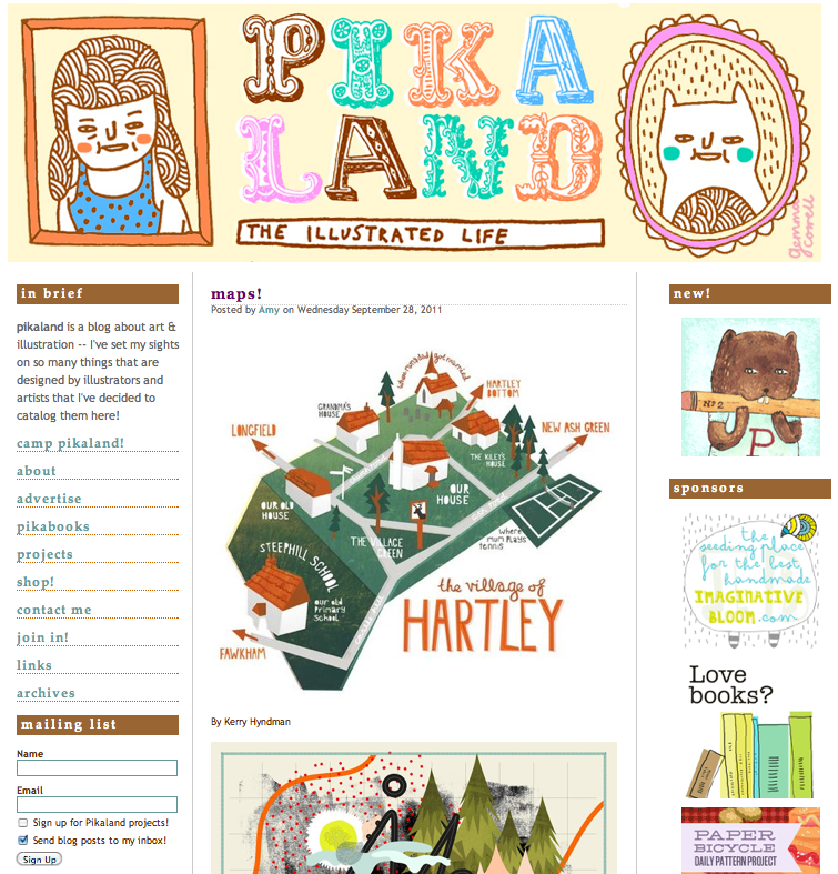 I was was really pleased to find my  Hartley Map  on  Pikaland.com . Its featured alongside some really great illustrator's maps including one of my faves,  Ah studio !