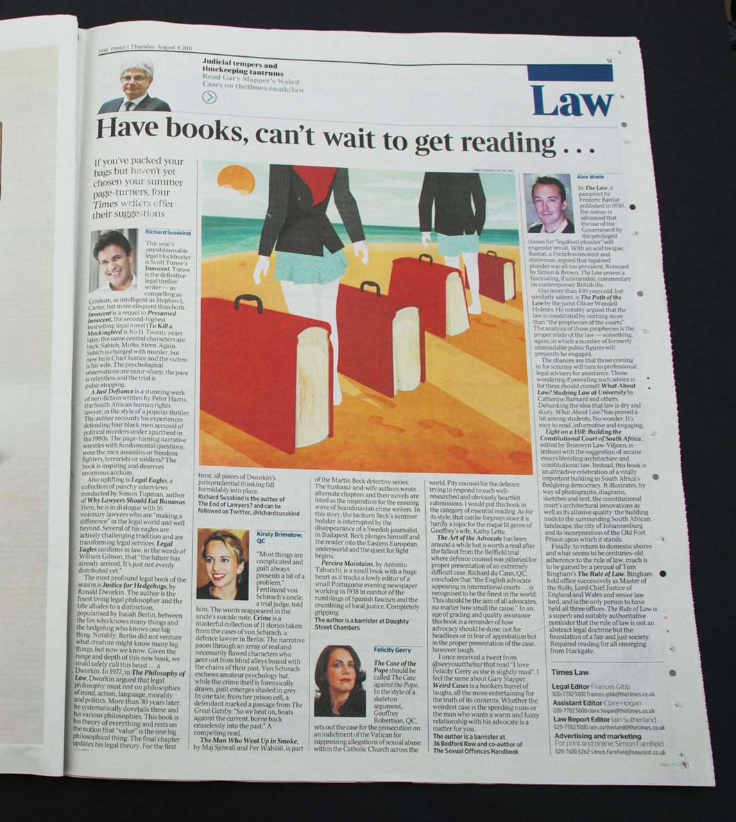 I have an illustration in The Times today! It accompanies an article about good reads for lawyers on their summer holidays. You can see my illustration in page 51 of the newspaper. You'll also be able to find it on the LAW pages of the website.