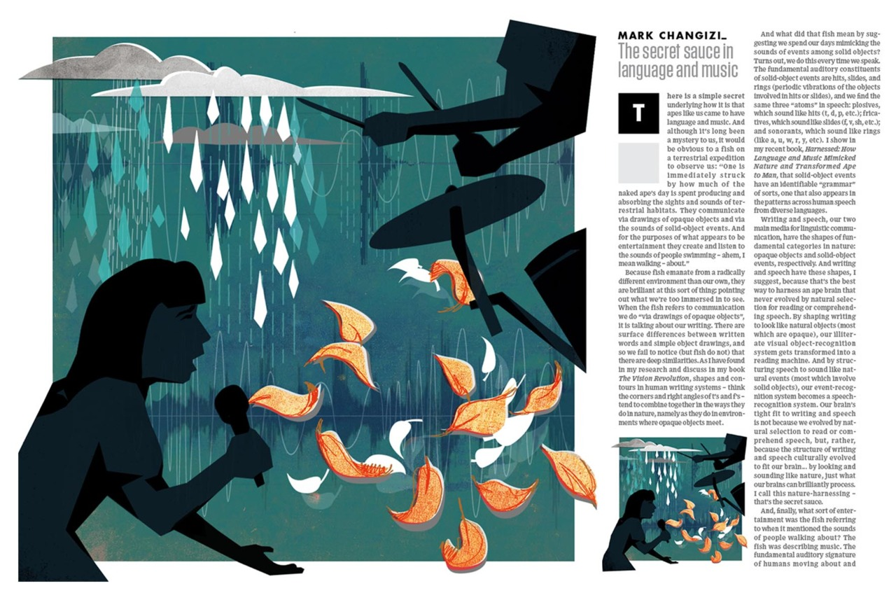 Last month I was commissioned by Wired UK to illustrate an article by Mark Changizi about the way the human brain understands language. The article was about the rhythms and sounds of nature being mimicked by language.   I was terrified what I started this illustration as it was my first proper magazine commission, but in the end I'm really pleased with the way it turned out, and looking forward to the next one! You can find the article and illustration in the August edition of Wired UK.