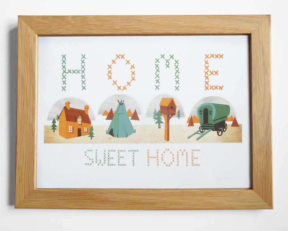 My Home Sweet Home illustration is now available to buy on my SHOP. I also have A5 postcards available of 'We're not out of the woods yet' and 'water' as well as lots of other prints.