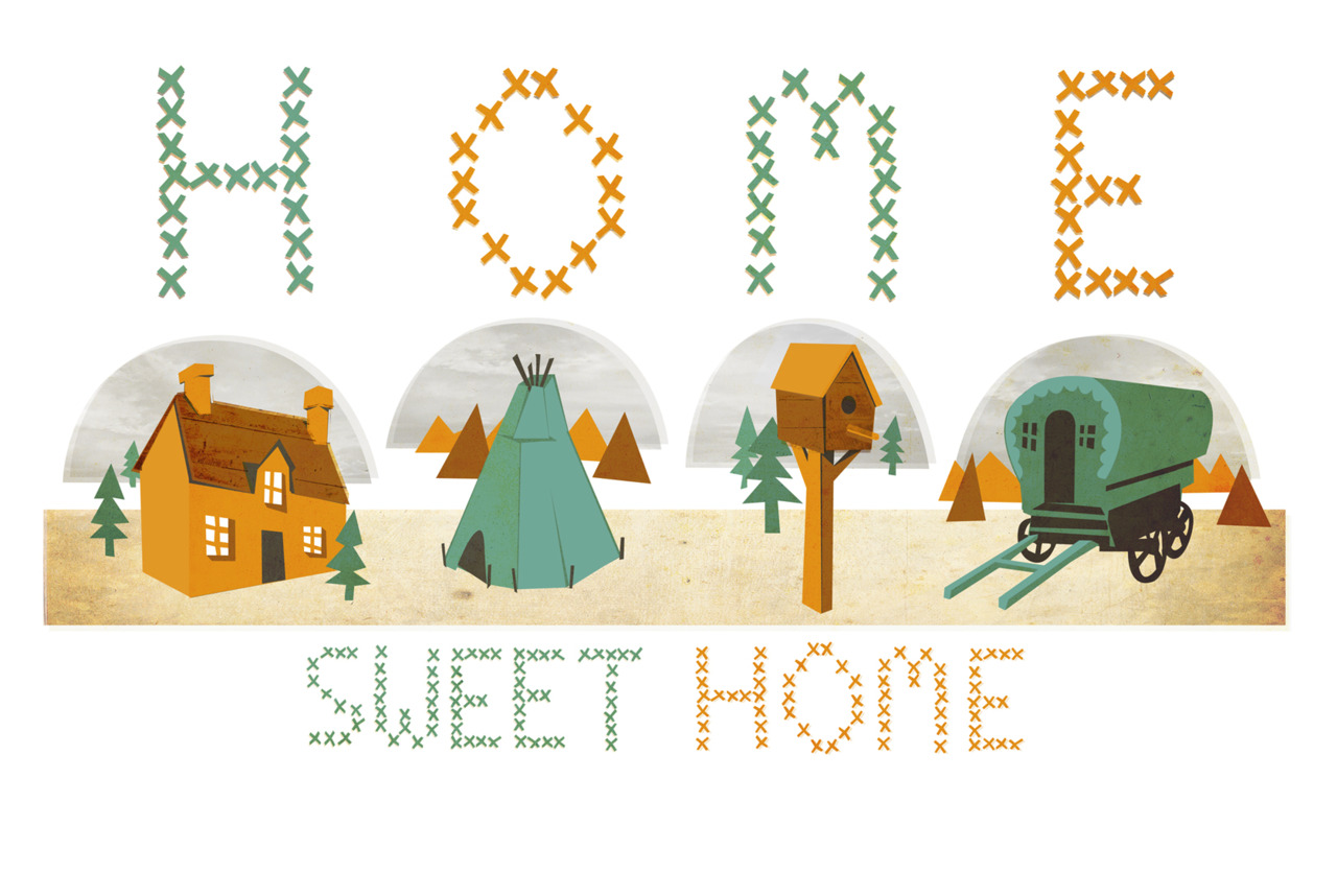 Here's my new HOME SWEET HOME illustration to go with a Home themed playlist/mix tape I've created. you can listen to it  HERE