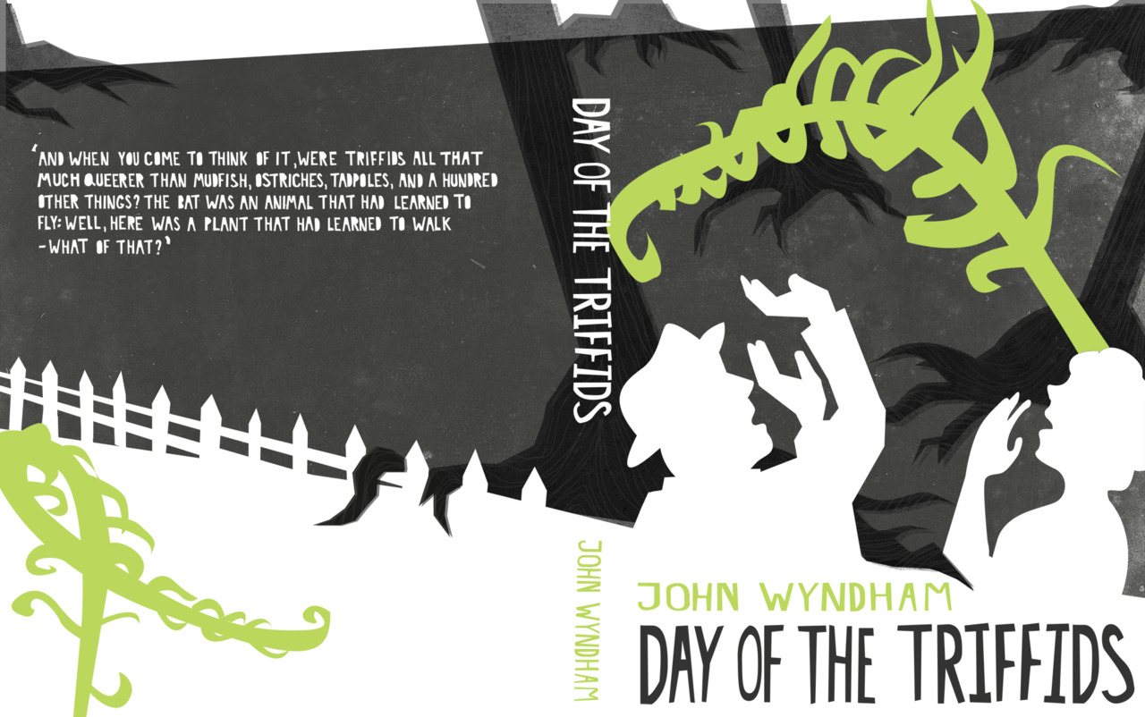 I am designing a series of book covers for novels by one of my favorite authors, John Wyndham. Here is the first one for 'The day of the Triffids.'