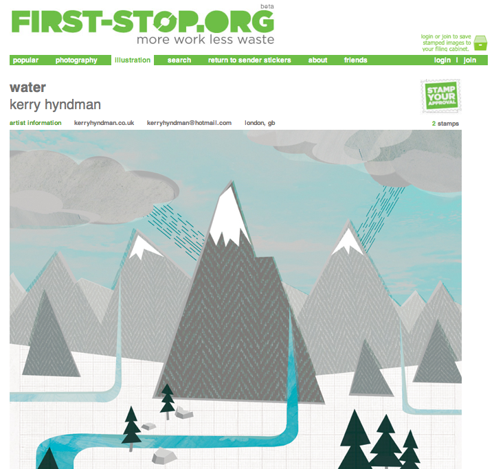 My Water illustration now appears on the  First Stop  website. Its a new site designed to promote illustrators and creatives in a eco friendly way, reducing the amount of paper promos sent out.