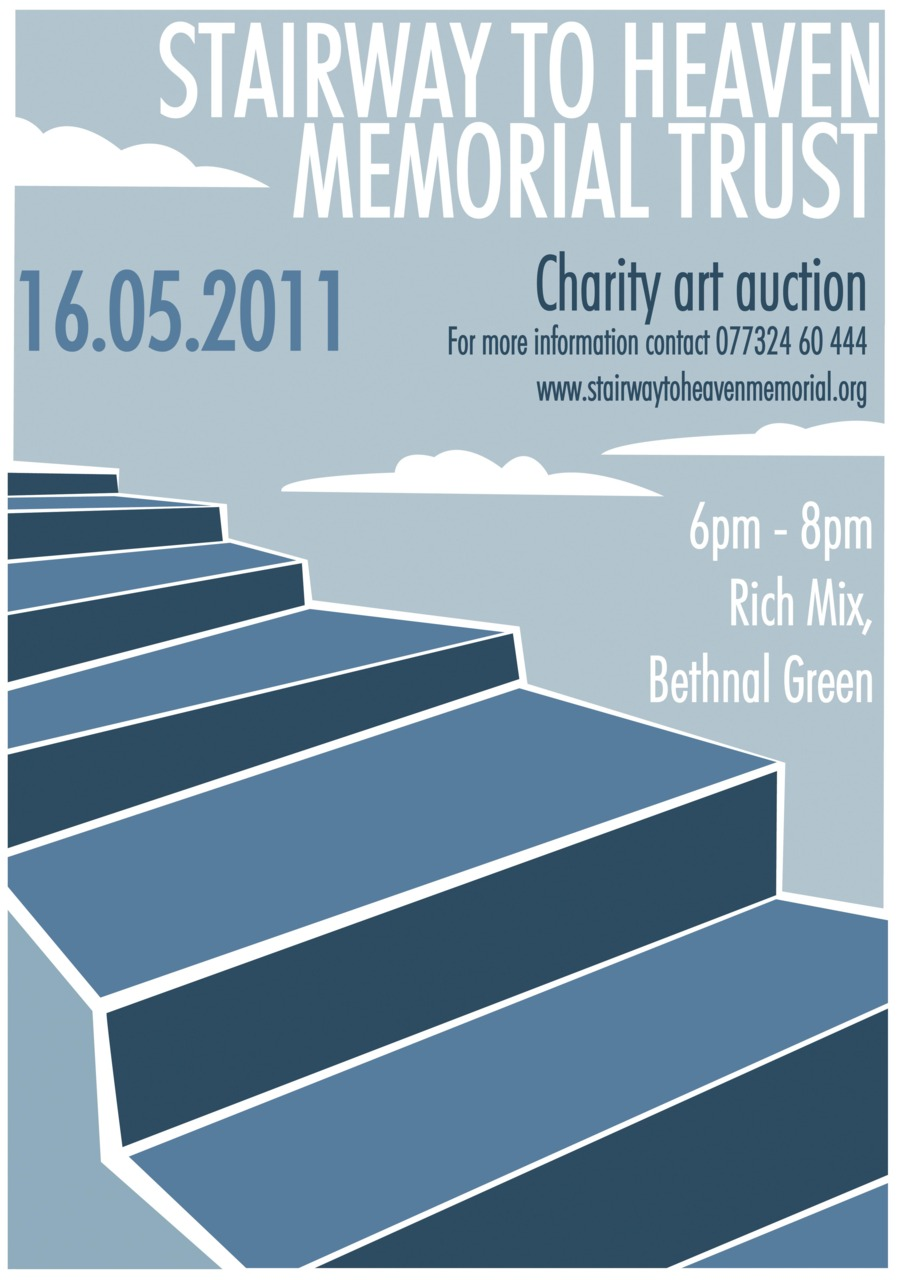 I am helping collect work for a charity art auction on behalf of the 'Stairway to Heaven Memorial trust'. you can find out more here. We are in need of art work any size, shape and medium, to raise money for a monument in memory of the biggest civil loss of life in Britain during WW2. All work will be displayed in the Rich Mix, London, before the event, if you can donate by the 5th of May please email kerrystaircase@hotmail.co.uk for more info. THANK YOU