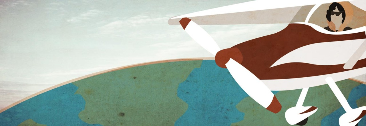 Illustration for  YCN  banner to celebrate the first Woman to fly solo around the world,  Jerrie Mock
