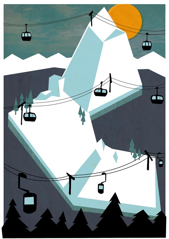 New illustration of some chairlifts.