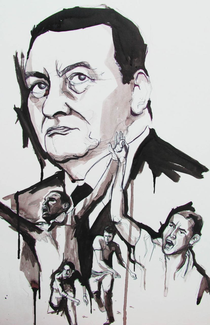Portrait of Egyptian  President Hosni Mubarak and some protesters who are calling for his regime to be overthrown.