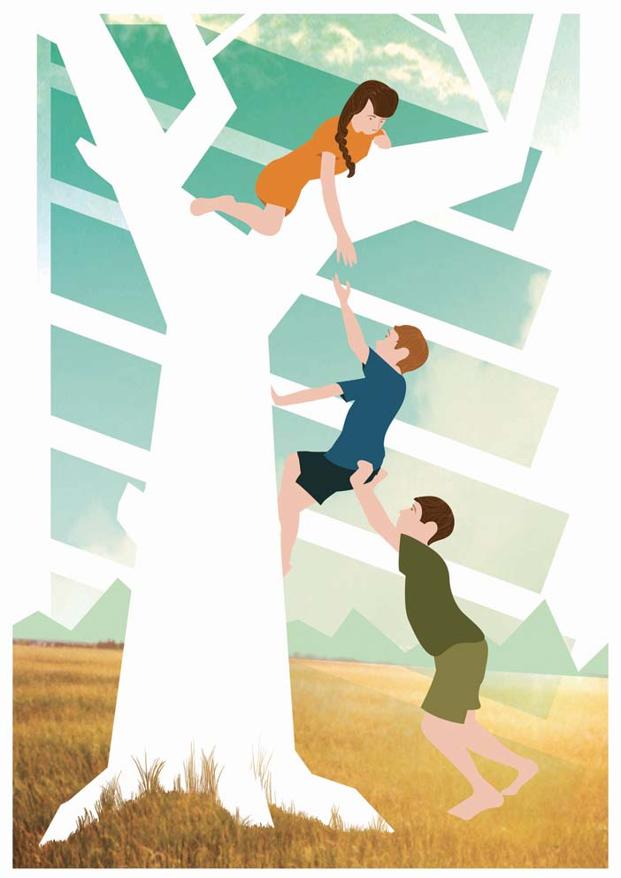 recent illustration of kids working together to help each other climb a tree.