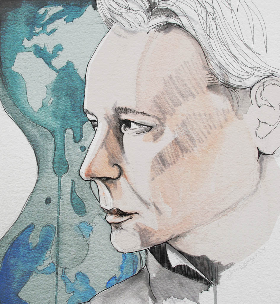 Portrait of Julian Assange the founder of Wikileaks who has been arrested this morning by British police, he is wanted by the Swedish authorities.