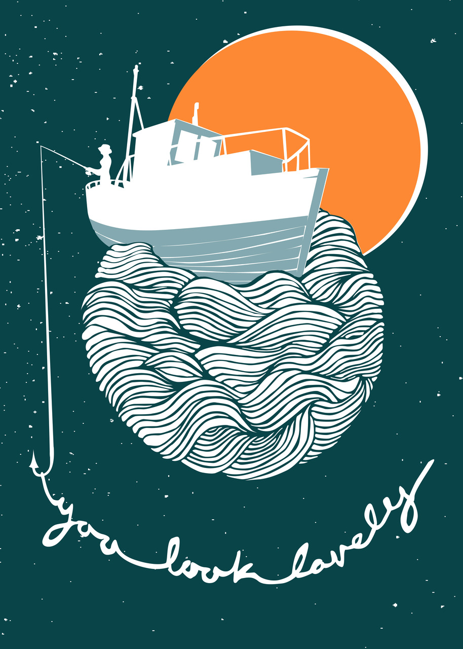 my new 'fishing for compliments' illustration. I plan to screen print this soon.