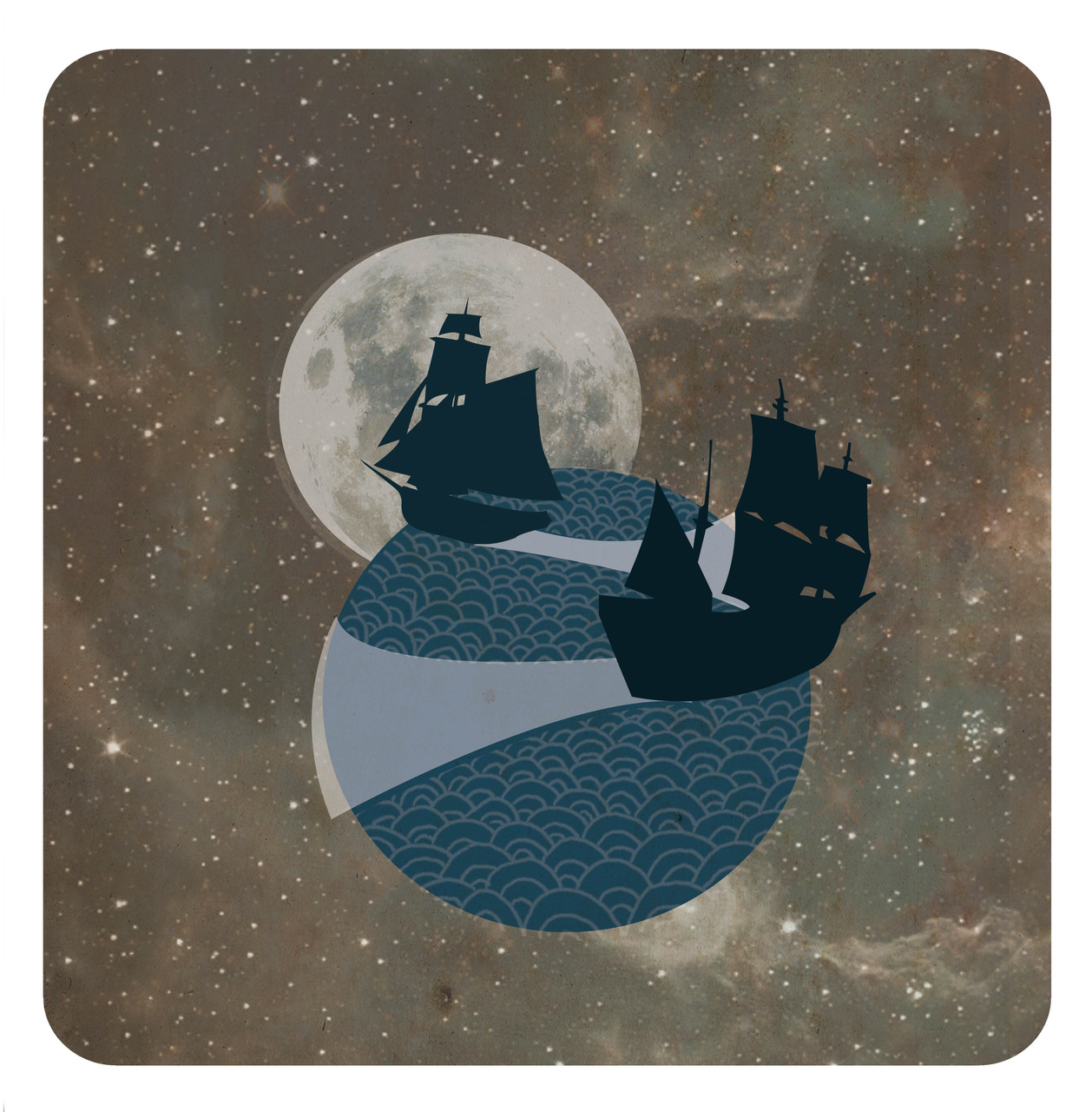 'Like ships that pass in the night'   Another version of this idiom for my illustrated dictionary.