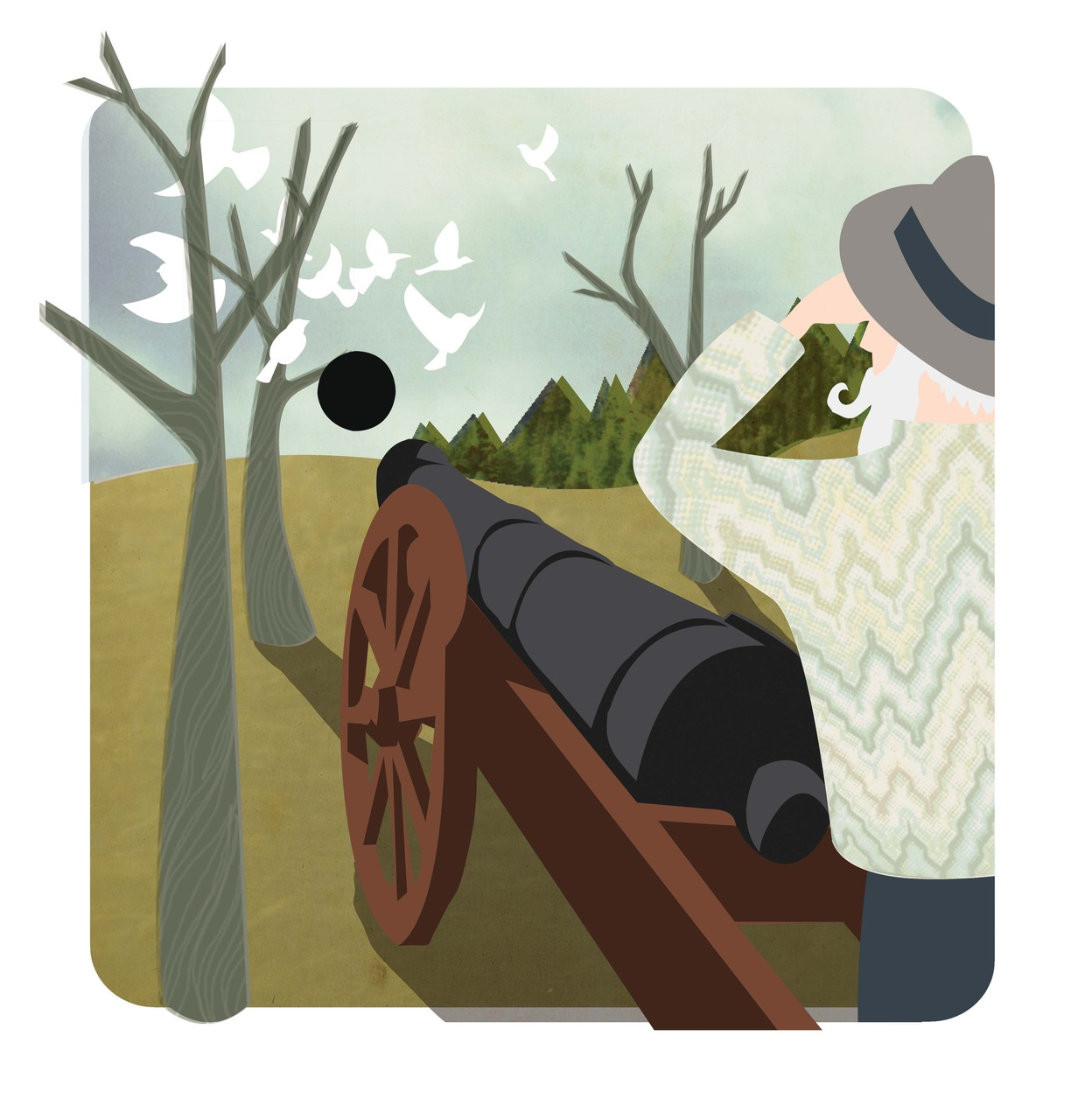 Hungarian idiom illustration. 'To shoot at sparrows with a cannon'. another illustration for my 'international dictionary of idioms' book that I'm working on.