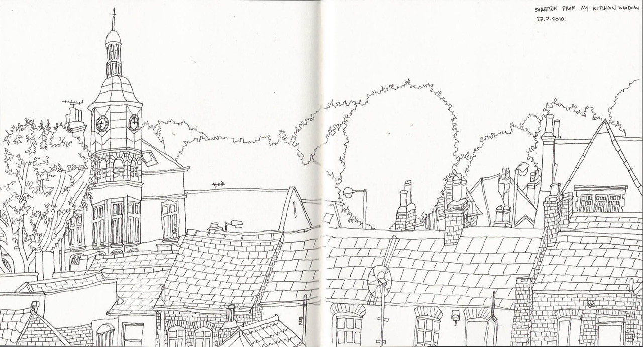 a sketch I did this morning of Surbiton rooftops from my kitchen window.