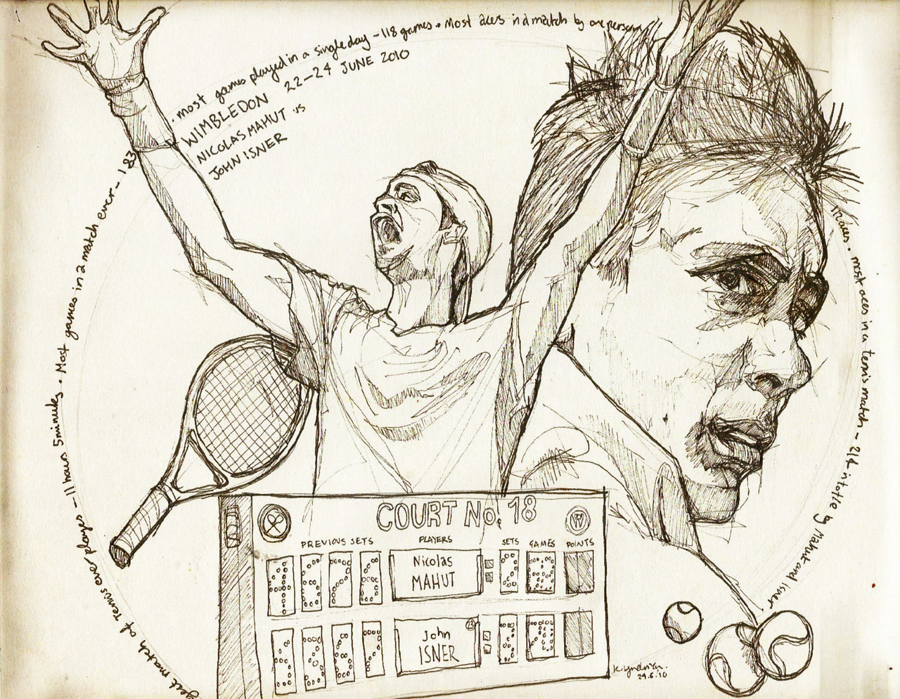 New illustration of John Isner and Nicolas Mahut in their record breaking Wimbledon match.