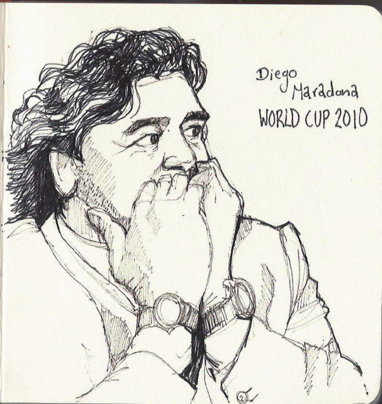 some sketchbook portraits of emotional people from the world of sport this week.   Diego Maradona, and below Nicolas Mahut and Heather Watson