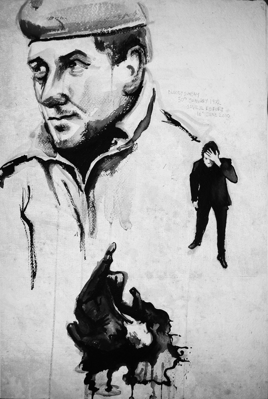 This week my portrait centres around Bloody Sunday. I have painted Derek Wilford (the paratrooper commanding officer). There is also a bystander and a victim of bloody sunday in 1972. The saville report into what happen was released this week.