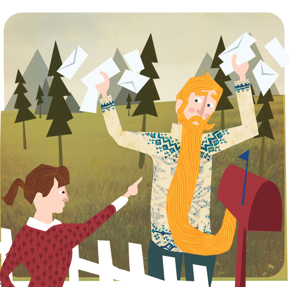 a new illustration of the Norwegian idiom, 'to be caught standing there with your beard in the mailbox'