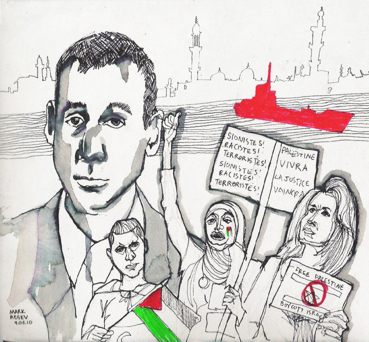 This week my portrait is of Mark Regev. He is a spokesman for the Israeli government. Since the events of last week and the sizure of a ship by Israel bound for Gaza, Regev has been the voice of Israel in the British media.
