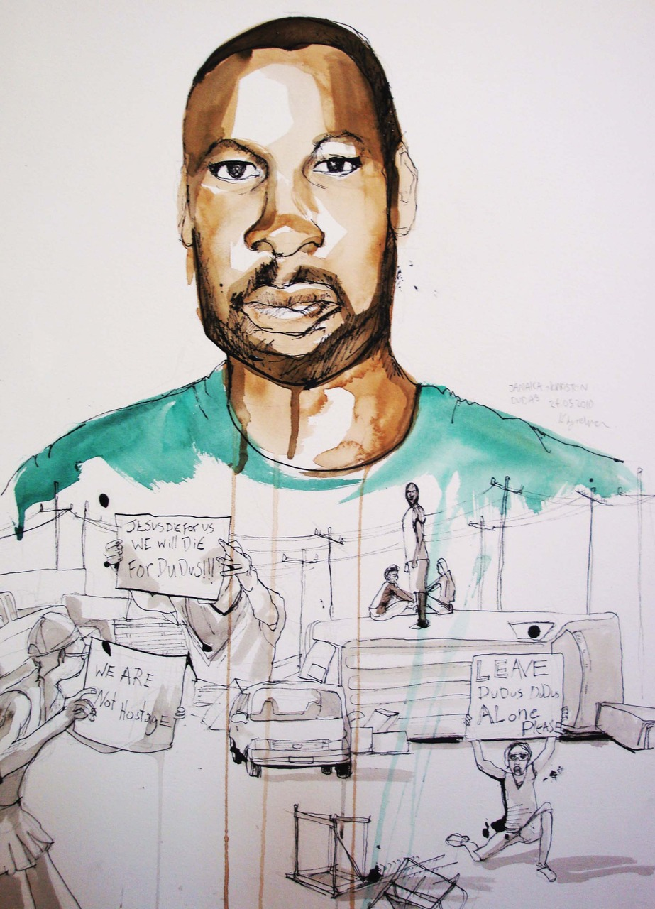 I have painted Christopher 'Dudus' Coke this week in his Jamaican 'fortress'. The illustration also features his supporters who have created a barricade to prevent him from being extradited to America. I made a mistake with the choice of ink pen on the course paper, and the composition could be better, but I'm pleased with the painting of Dudus.  and here are some more sketch book studies.