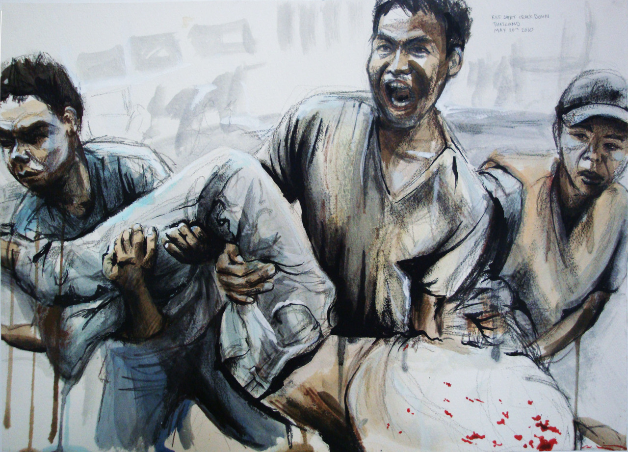 My portrait this week is of red shirt protesters in Thailand. This painting is from an image taken during the government crackdown of the redshirts in Bangkok.         Also here is a sketch of the current PM of Thailand, Abhisit Vejjajiva and another protester.