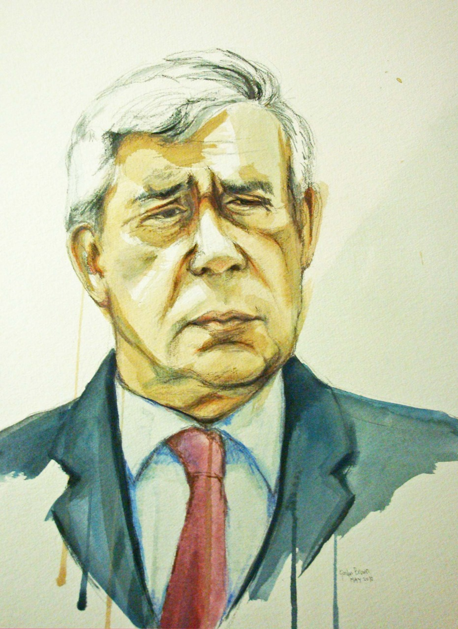 I have decided to paint a portrait a week, of someone who has appeared in the media for whatever reason that particular week.   Gordon seemed to pop up quite a lot last week, so here is a painting of him!   and some sketchbook studies….