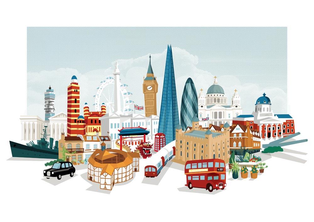 Cartoon Happy Woman Travel In London, United Kingdom, England ...