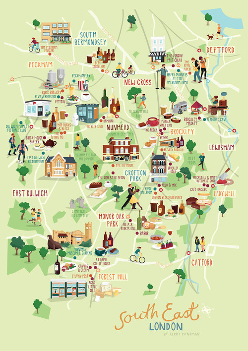south east london map illustration