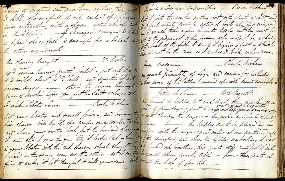 manuscript recipe book 1820s