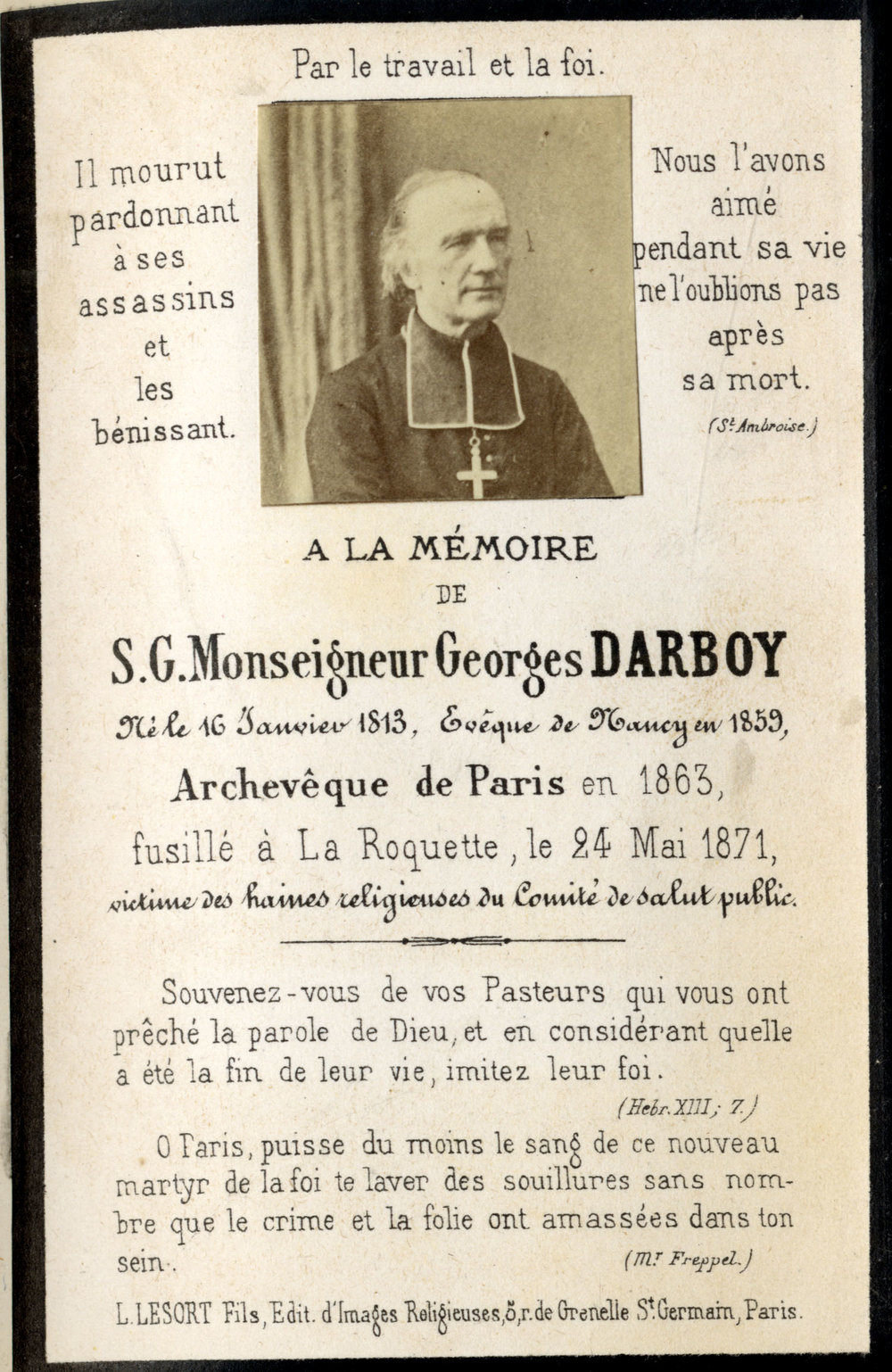 In memoriam cards - Paris Commune priests and others