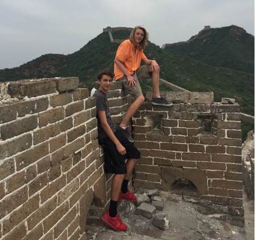 Jako and Richie at the top of their Great Wall hike.